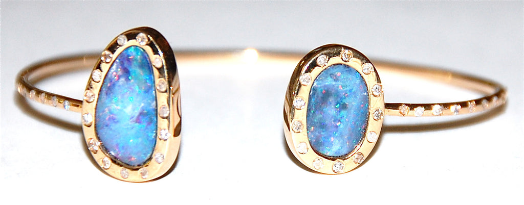 Opal blue, purple, and red with flush diamond setting cuff