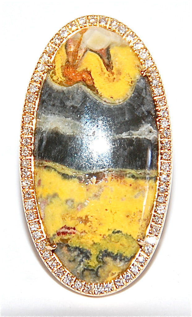 Jasper paved diamond ring
