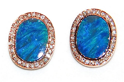 18kt Gold opal paved diamond stud earring