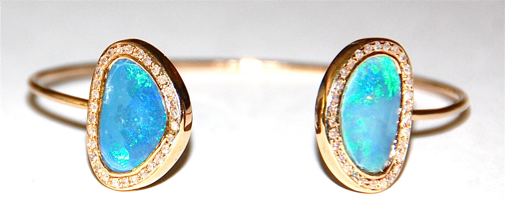 Opal pave diamond cuff