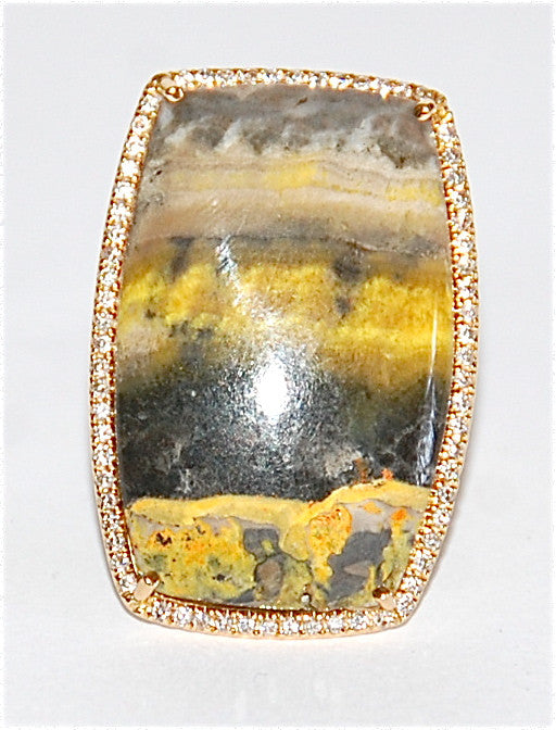 18kt Jasper with paved diamond ring