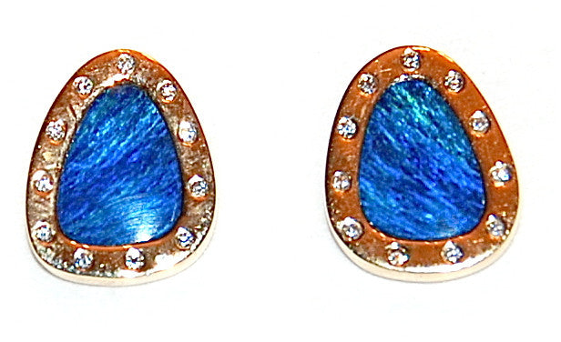 Gold opal, flush diamond stud earring