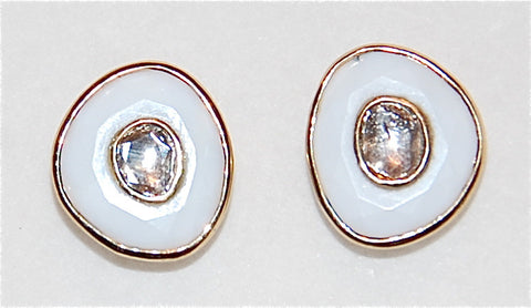 Gold white opal with mine cut diamond earring