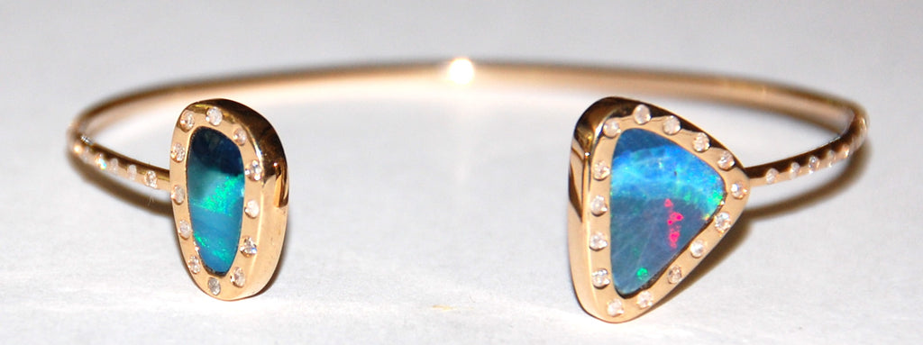 Opal blue, black red flush diamond both opal and band cuff