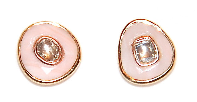Gold pink coral with mine cut diamond earring