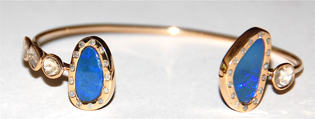 Blue opal flush diamond cuff