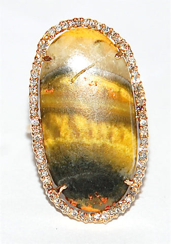 18kt Gold jasper paved diamond ring