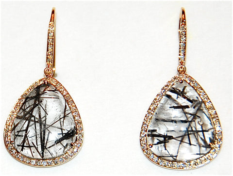18kt Gold black rutile paved diamond earring