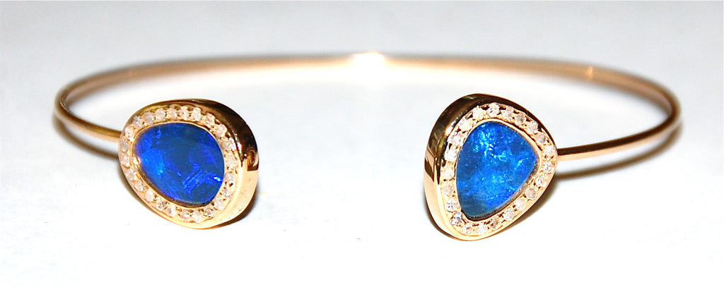 Blue opal pave diamond cuff