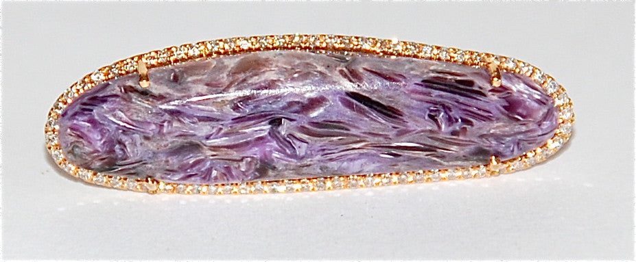 18kt Gold charoite paved diamond ring