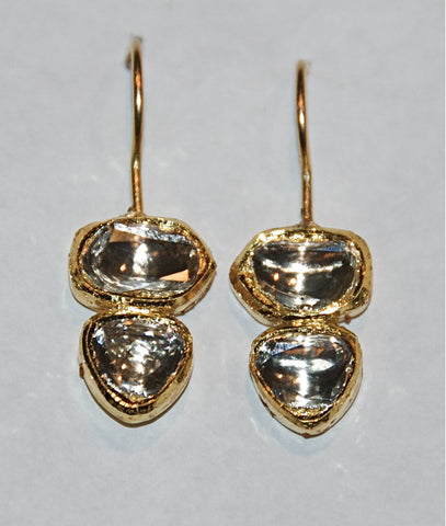 Grand double polki diamond drop earring