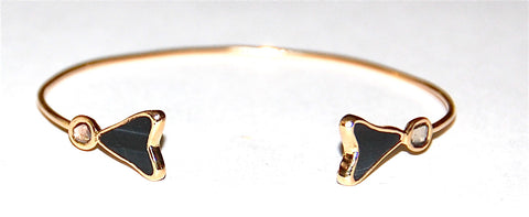 Black tiger eye with 2 polki diamonds cuff