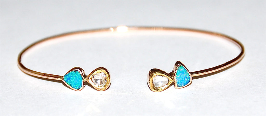 Opal with 2 Polki diamond cuff