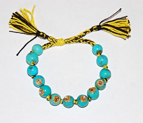 Turquoise with 7 polki diamonds pull cord Bracelet