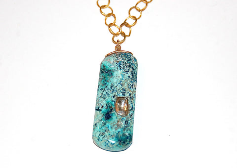 African turquoise scale with grand polki diamond necklace