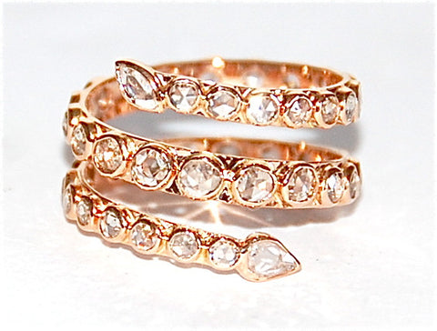 18kt Gold rose cut diamond Eel ring