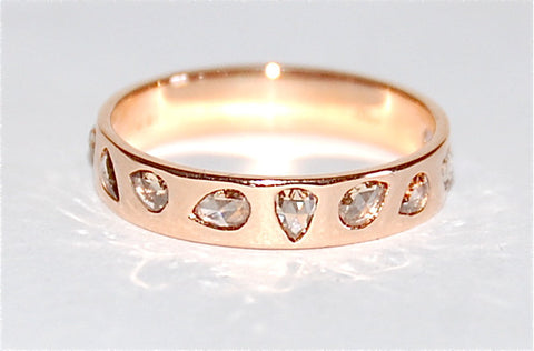 18kt Gold rose cut diamond swimming bang ring