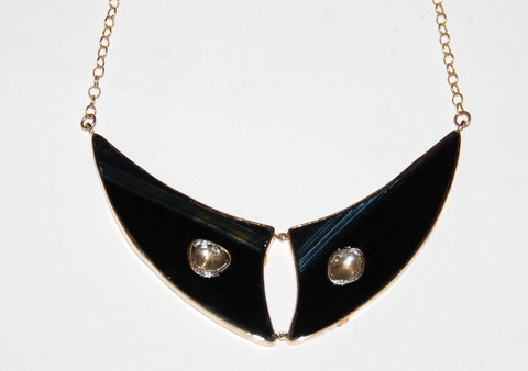 Flying fish fin black tiger eye with 2 polki diamond necklace
