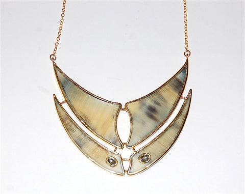 Flying fin double horn with 2 polki diamond fin necklace
