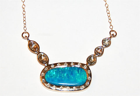 Blue and green opal with 5 polki diamond flush necklace
