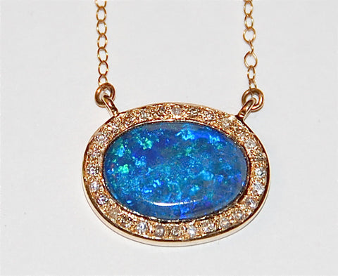 Blue and green opal pave diamond necklace