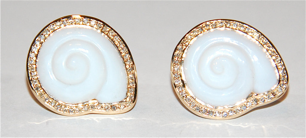 White opal round shell with paved diamond earring