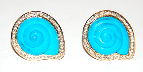 Grand Round shell turquoise paved diamond earring