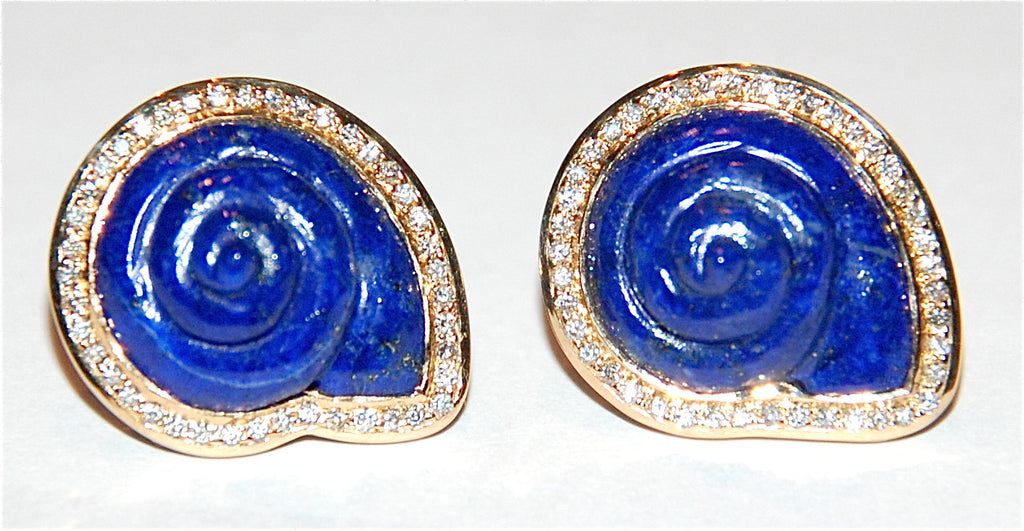 Lapis Round shell with paved diamond earring