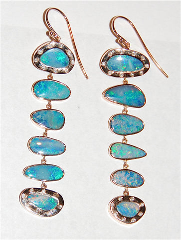 Pale blue and green opal 6 scale drop earring