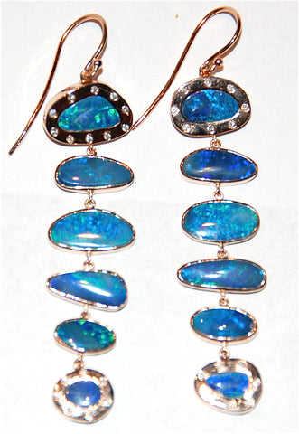 Blue opal 6 scale drop earring