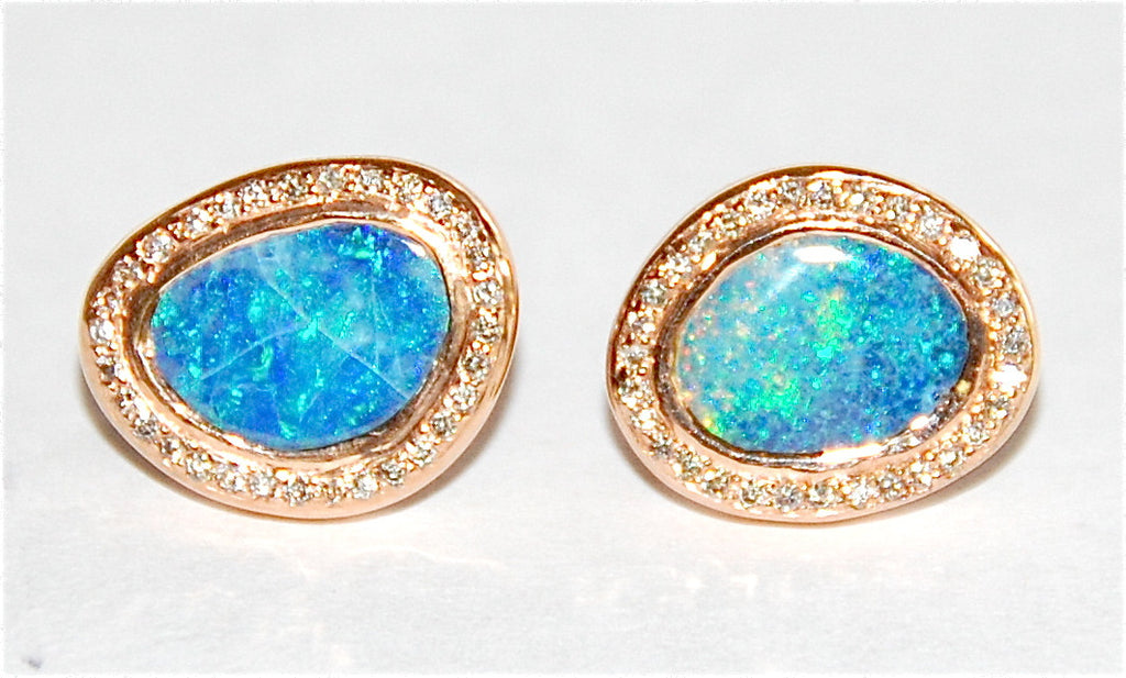 Opal with blue green paved diamond earring