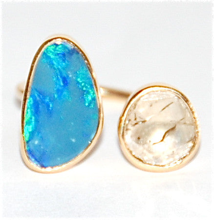 18kt Gold opal with rose cut diamond