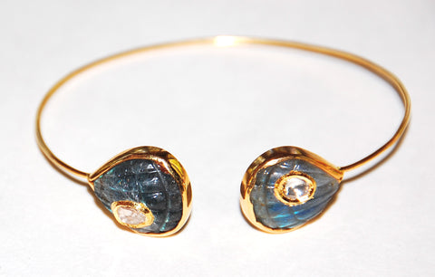 Fan shell labradorite polki diamond cuff