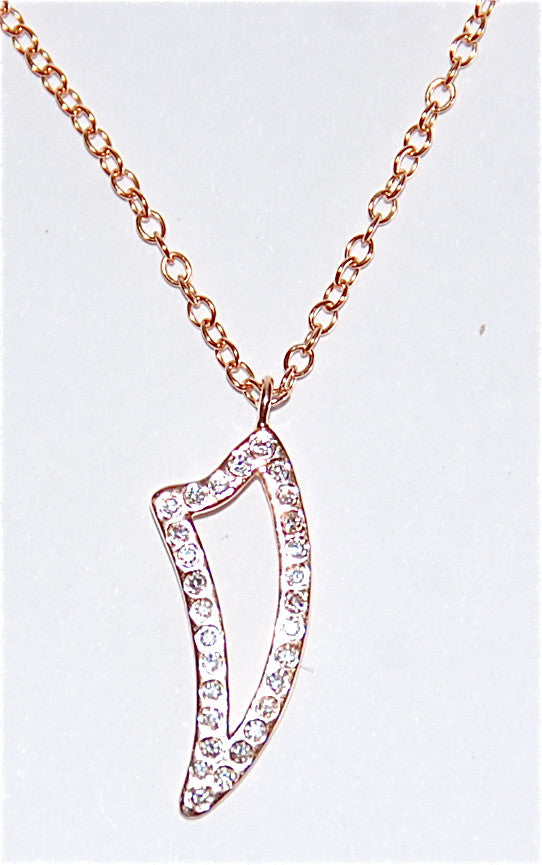 Gold Fin with paved diamond pendant