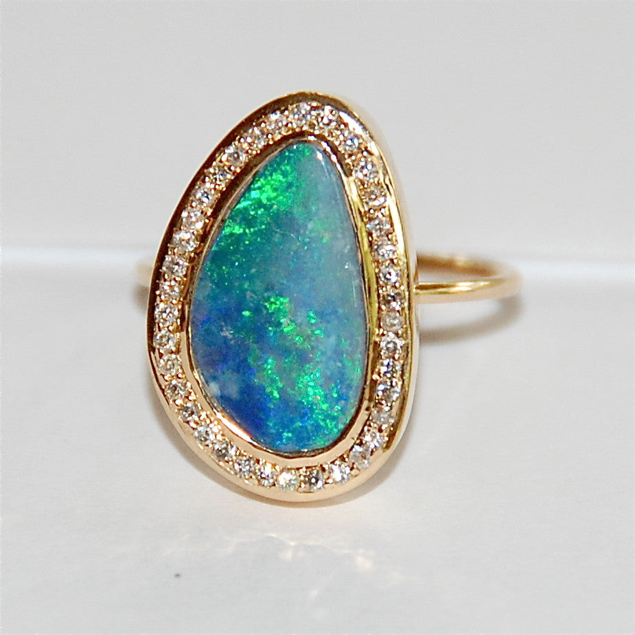 Blue Opal with paved diamond ring
