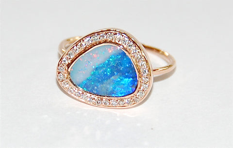 Blue red white opal with paved diamond ring