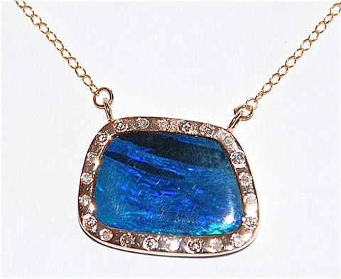 18kt Gold opal paved diamond Necklace