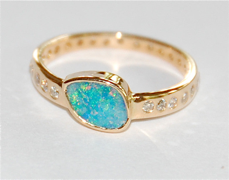 Green Blue opal with paved band ring