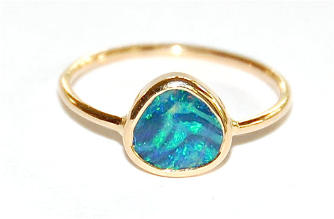 Blue green opal band ring