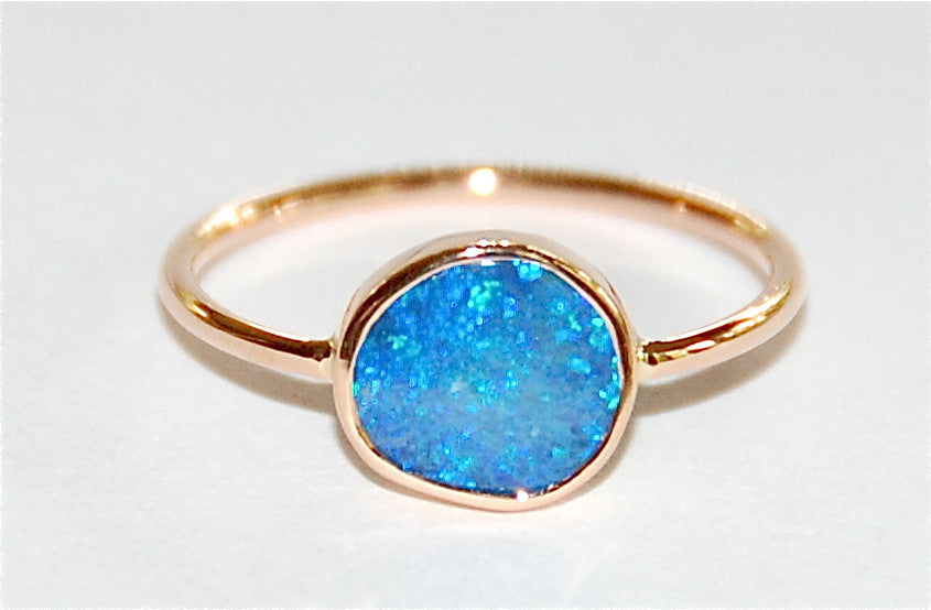 Blue opal band ring