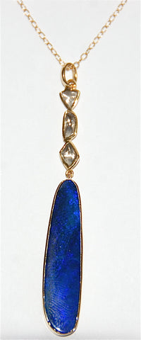 18kt Gold opal with mine cut diamonds necklace