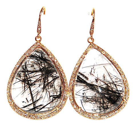 Seaweed black rutilated quartz pear shaped paved diamond earring