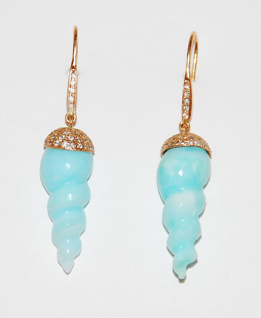 Mini blue opal twist shell with paved diamond cap and stem earring