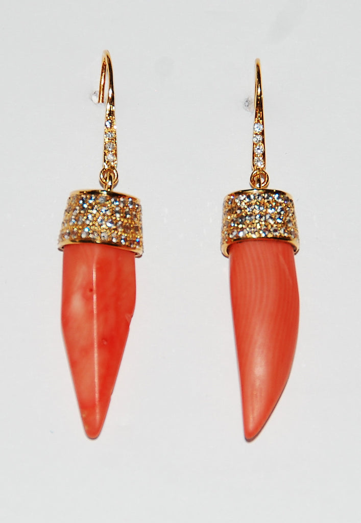 Coral spear with paved diamond cap and stem earring