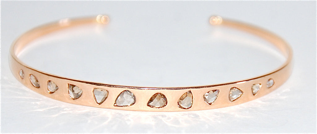 18kt Rose gold rose cut diamond cuff