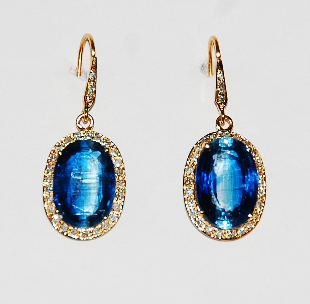 Kyanite oval earring with paved diamond and diamond stem