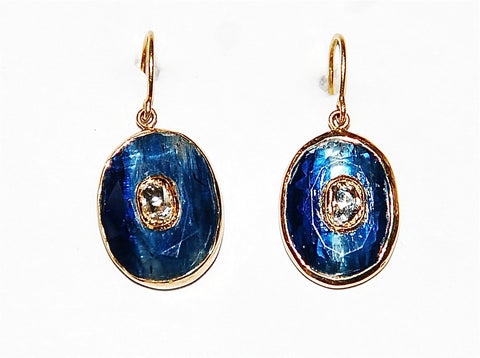 Lois Kyanite with polki diamond earring