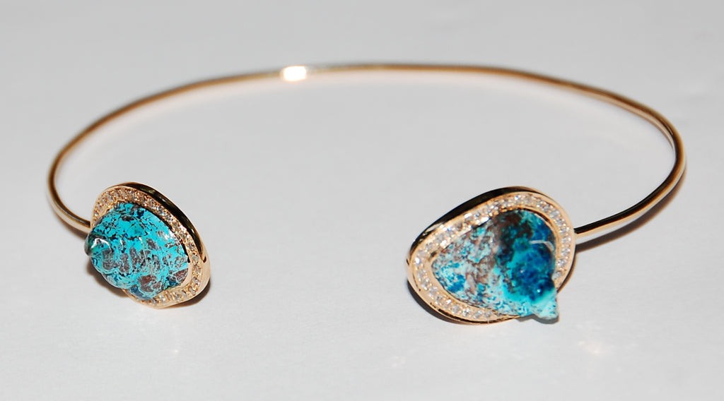 Turquoise round shell with paved diamond cuff