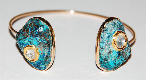 Plus grand African Turquoise with grand polki diamond cuff