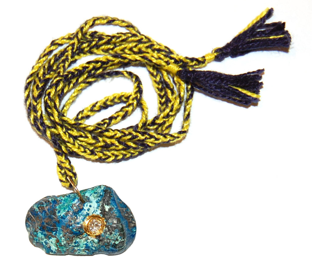 Turquoise fan shell with polki diamond with bi-color hand woven cord